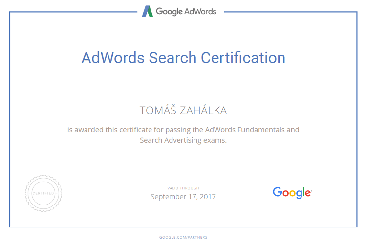 Google AdWords Search Certifikát