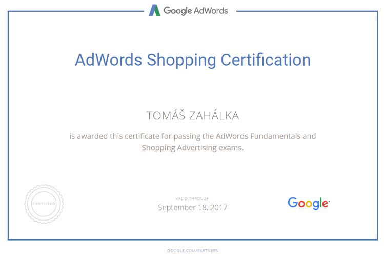 Google AdWords Shopping Certifikát