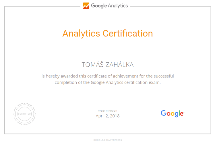 Google Analytics Certifikát