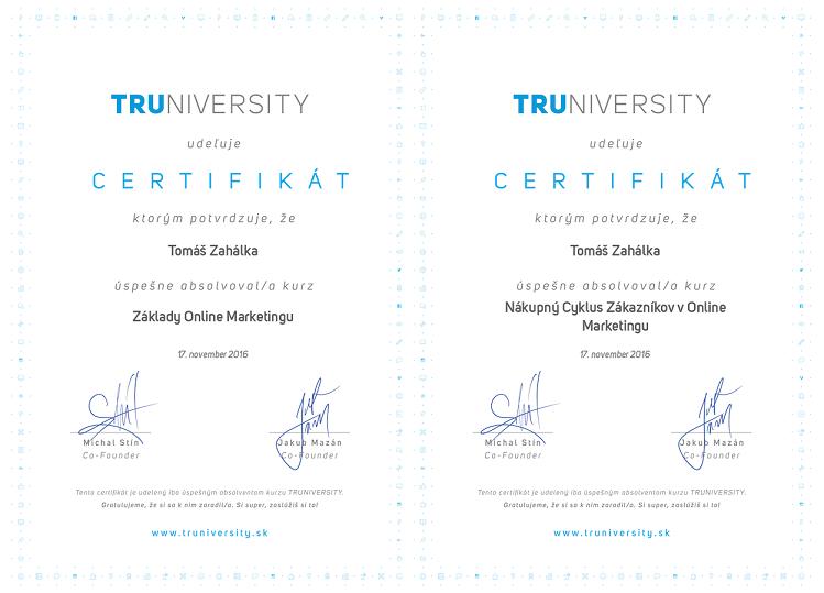 truniversity certifikát