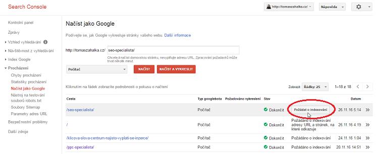 Google indexace - jak přidat stránku