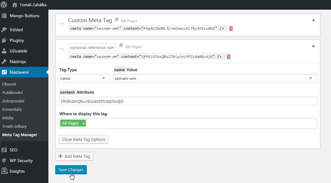 Seznam Webmaster Tools Reporter - WordPress