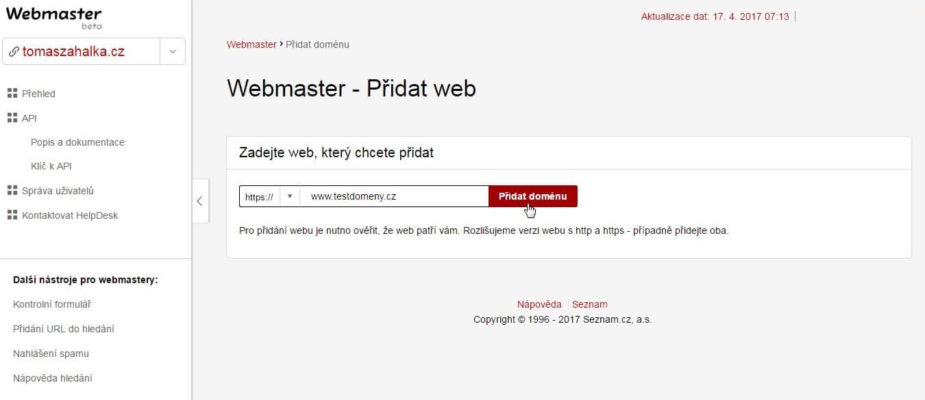 Seznam Webmaster Tools Reporter