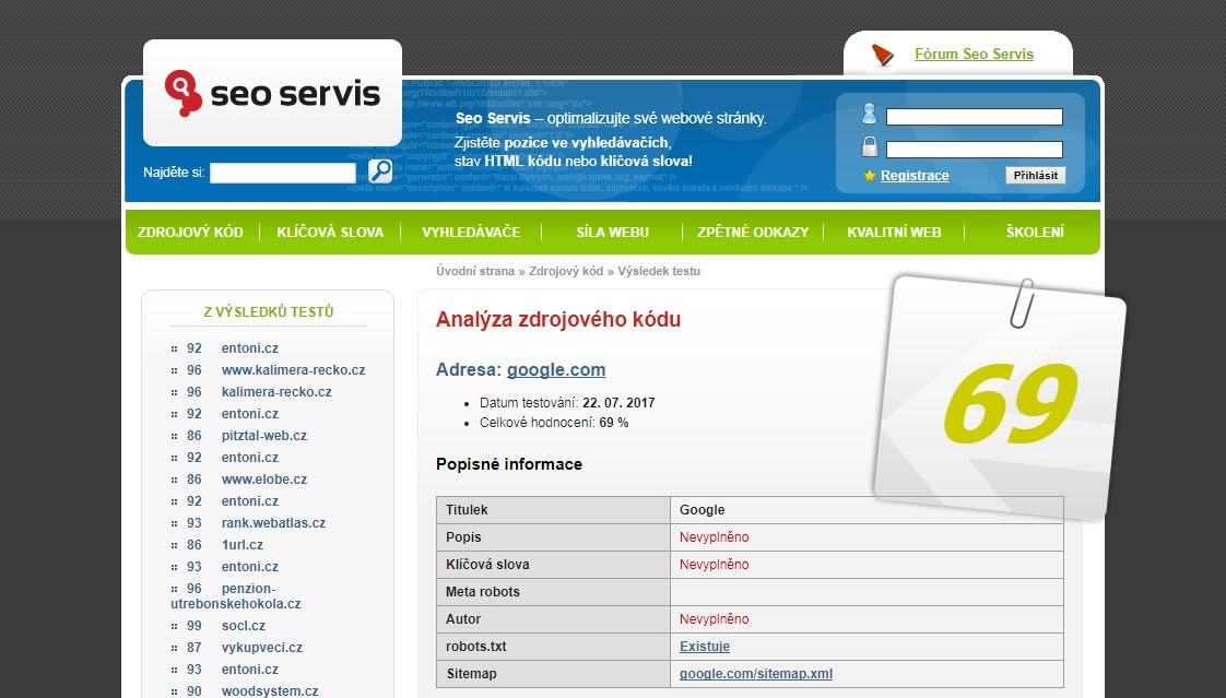 SEO Servis a SEO analyzátor