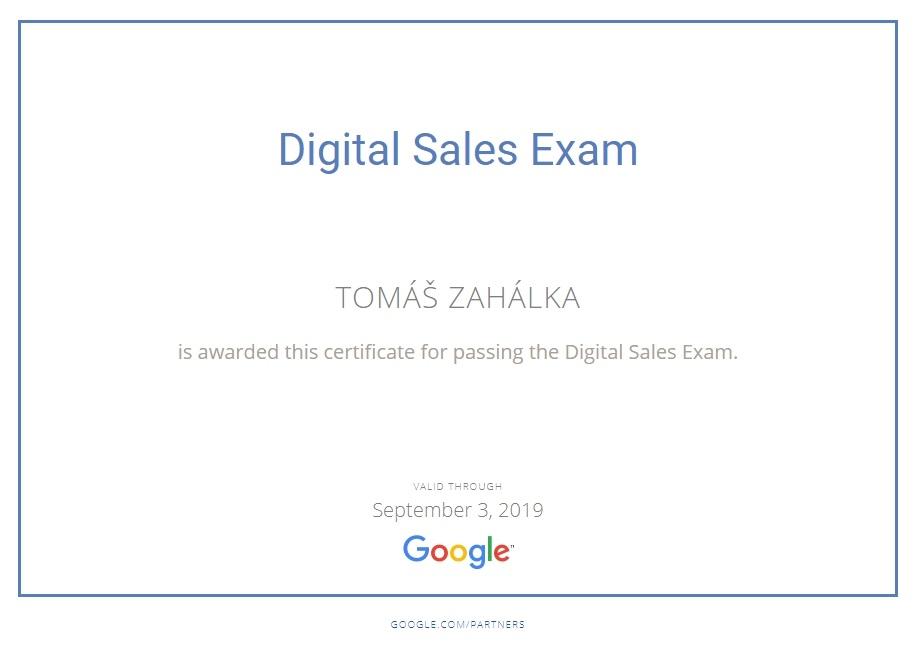 Digital Sales Exam - Certification - Tomáš Zahálka