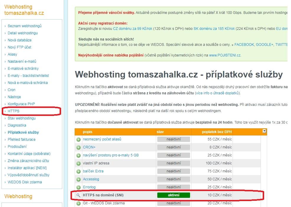 WEDOS - Návod jak přejít zdarma na HTTPS s Let's Encrypt certifikátem u Wordpressu. 3