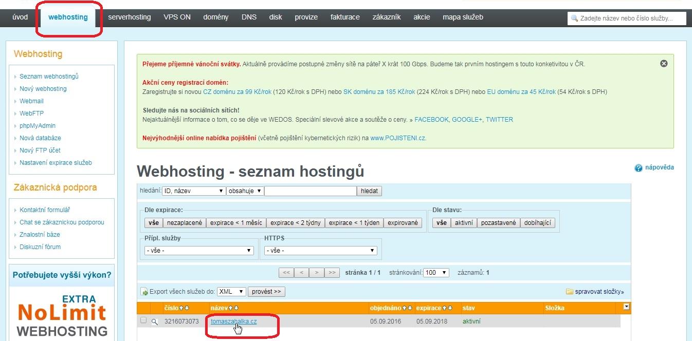 WEDOS - Návod jak přejít zdarma na HTTPS s Let's Encrypt certifikátem u Wordpressu. 1