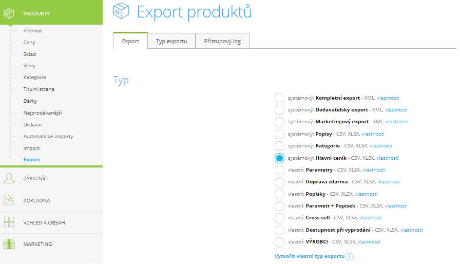 Export produktů dle vlastního nastavení (Zdroj: Shoptet)