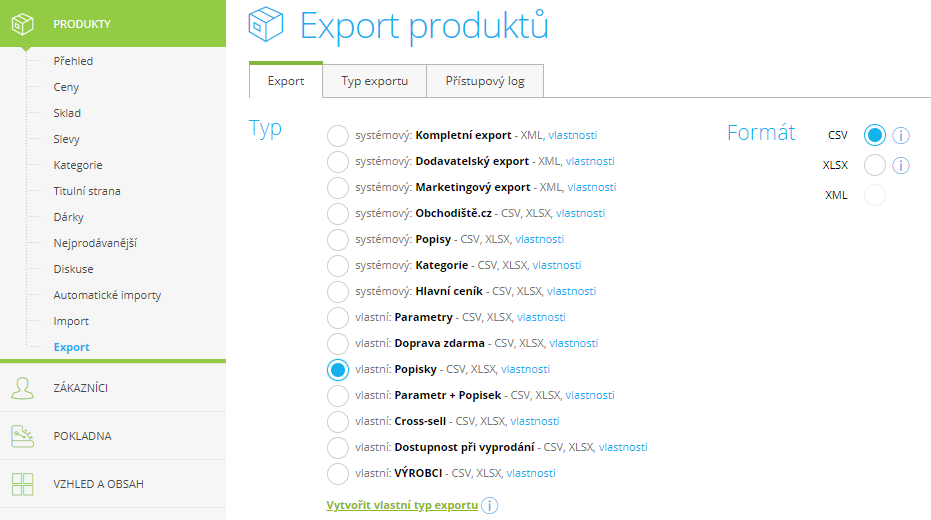 Export / import produktů