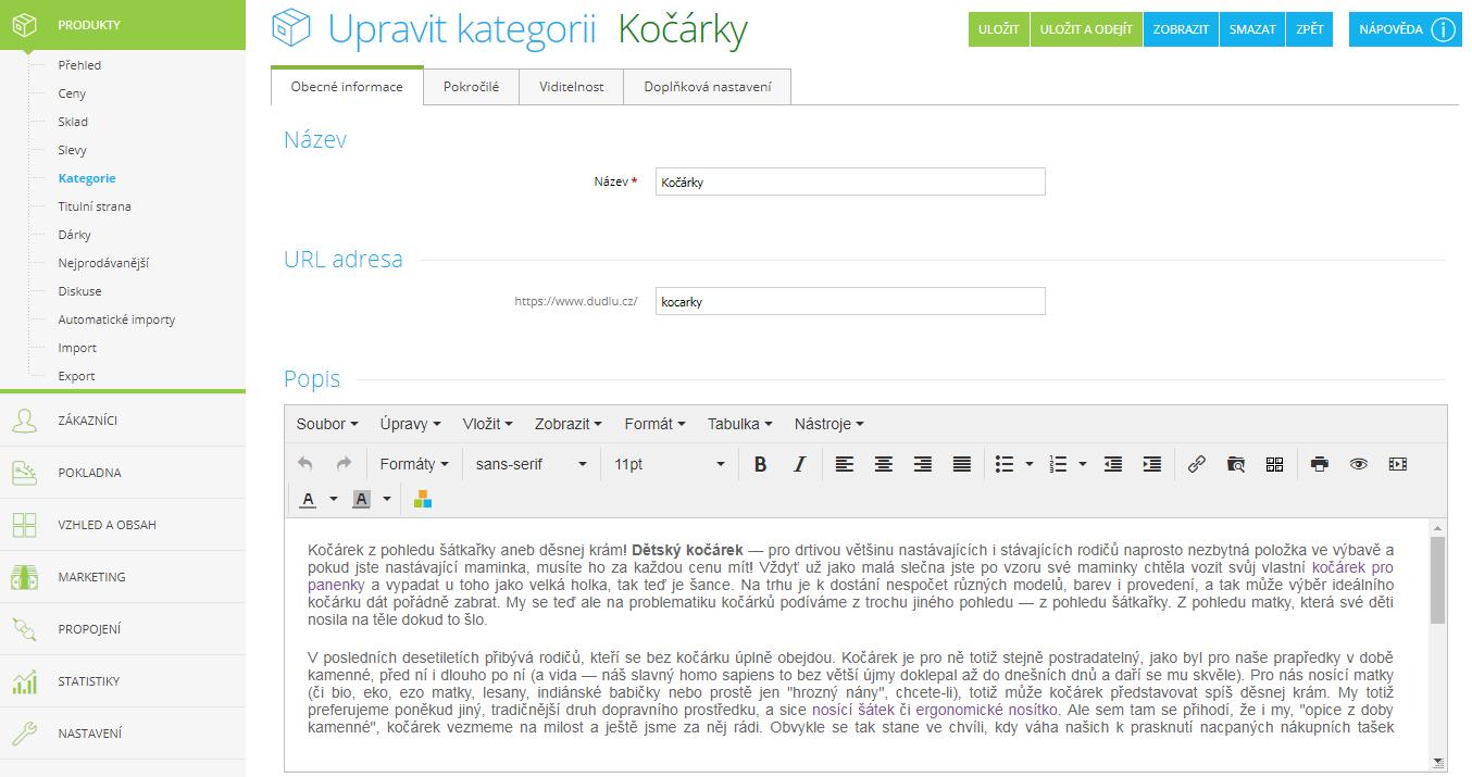 WYSIWYG editor pro textaci kategorie