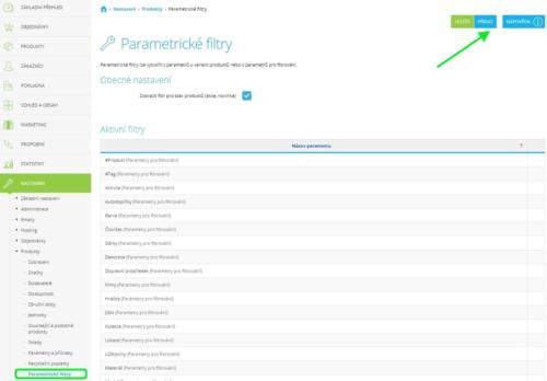 Parametrické filtry Shoptet nastavení
