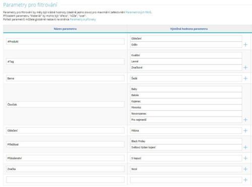 Parametry produktu v CMS Shoptetu